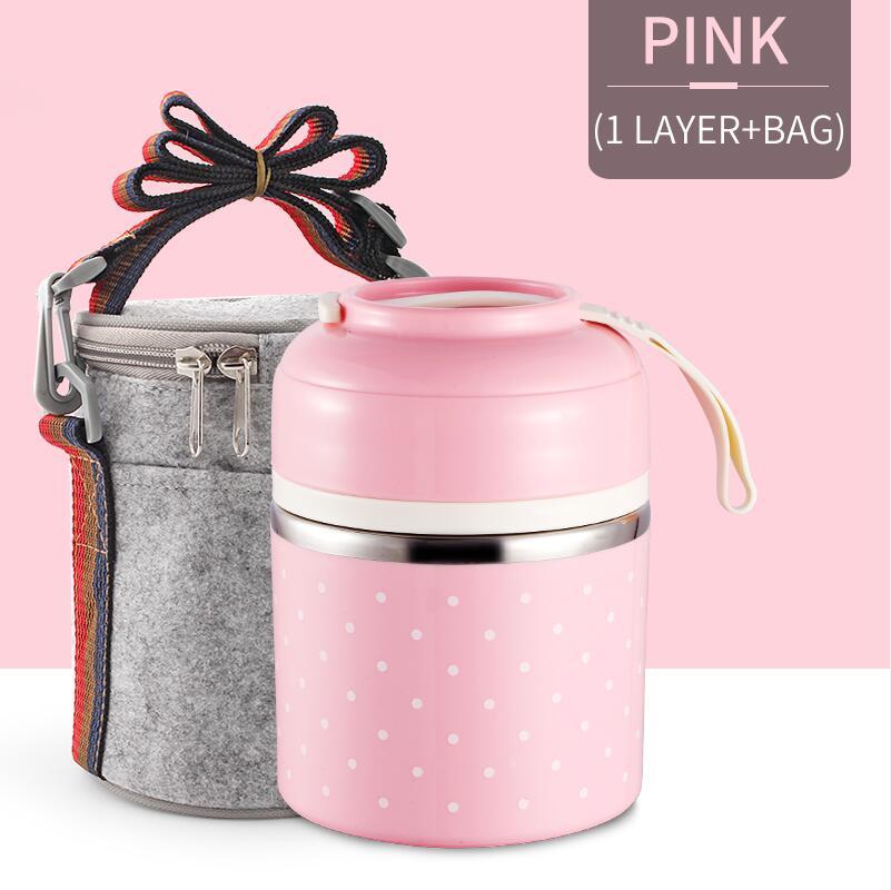 Милые детские Термальность Коробки для обедов герметичность Нержавеющая сталь Bento box для детей Портативный Пикник школа Еда контейнер Box - Цвет: Pink 1 With Bag