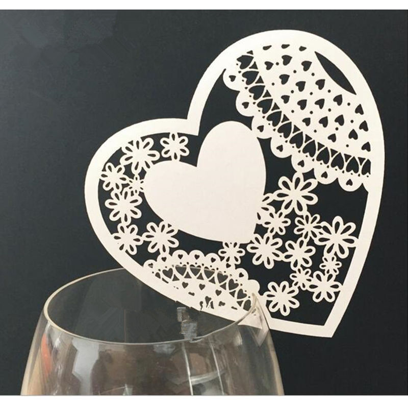 100pcs Lacer Cut Paper Heart Love cards Table Paper Wine Glass Cup Card Escort Table Mark for Wedding Party Home Decorations