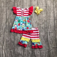Kids Girls Boutique Clothing Girls Back To School Clothes Children Car To School Outfits Stripe Ruffle