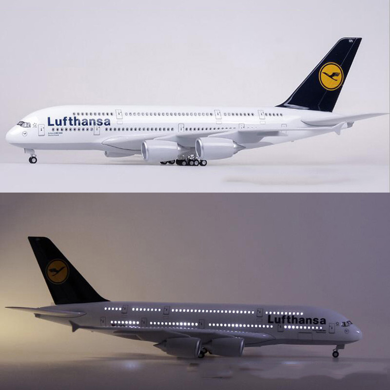 1 160 Scale 50 5CM Airplane Airbus A380 Lufthansa Airline Model W Light and Wheel Diecast