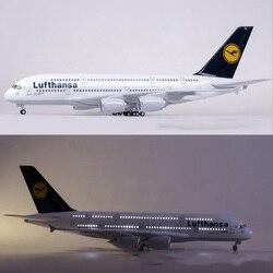 1/160 Schaal 50.5 CM Vliegtuig Airbus A380 Lufthansa Luchtvaartmaatschappij Model W Licht en Wiel Diecast Plastic Hars Vliegtuig Voor Collection