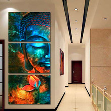 3 Pieces Buddha Poster Wall Art Canvas Painting Nordic Pictures for Living Room Deco Mural Decoration Picture Print