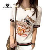 Summer T Shirt Women 2018 Short Sleeve Tees Round Neck T Shirts Luxury Sweet Cat Printed Tee Tops Casual