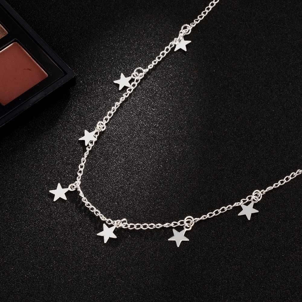 KISSWIFE moda damska biżuteria naturalny stop naszyjnik z pięcioramienną gwiazdą naszyjnik kobieta Choker naszyjniki