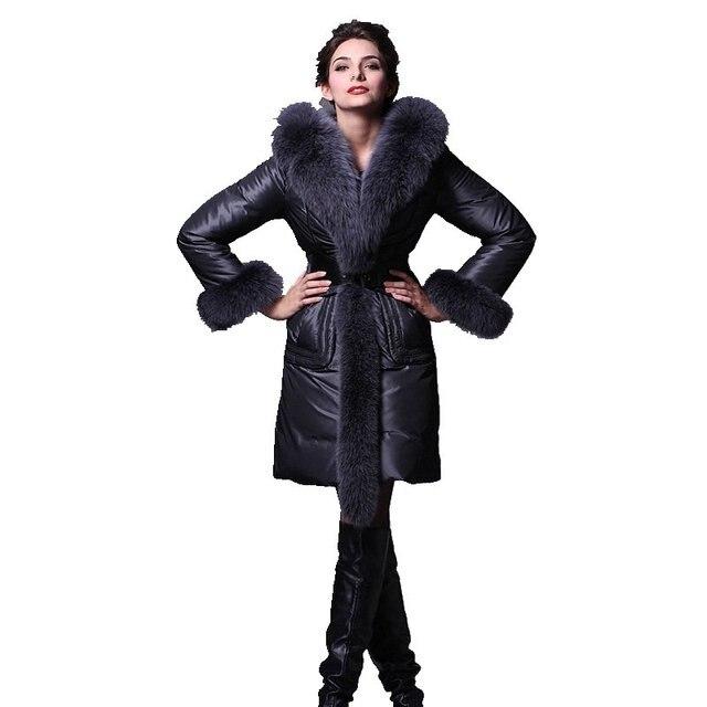Long Slim Women Down Coat Winter 2017 New Fashion Women's Winter Jackets Ladies Hooded Coats Female Thick Fur Collar Jacket Y852
