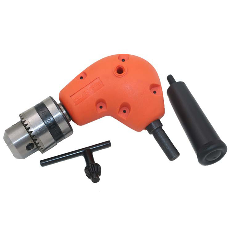Right Angle Drill Attachment 90 Degree Handle Adaptor Corner Chuck Keyless Clamping range 1-10MM Power Tools Orange a professional right angle drill attachment 90 degree handle adaptor corner chuck clamping range 0 8 10mm extension accessories