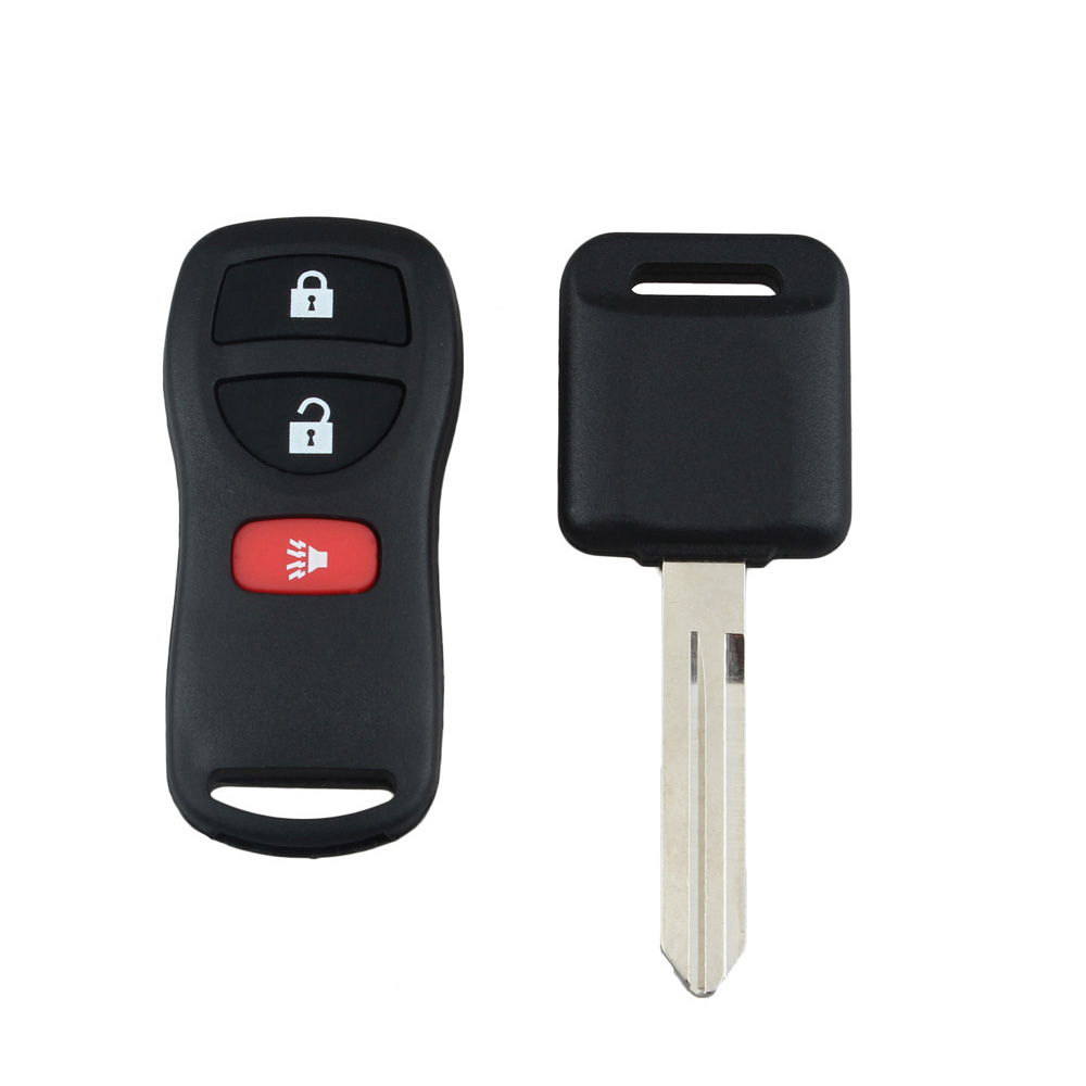 3 Buttons Keyless Entry Remote Fob Chip Transponder Ignition Car Key For Nissan Replacement Refit Car