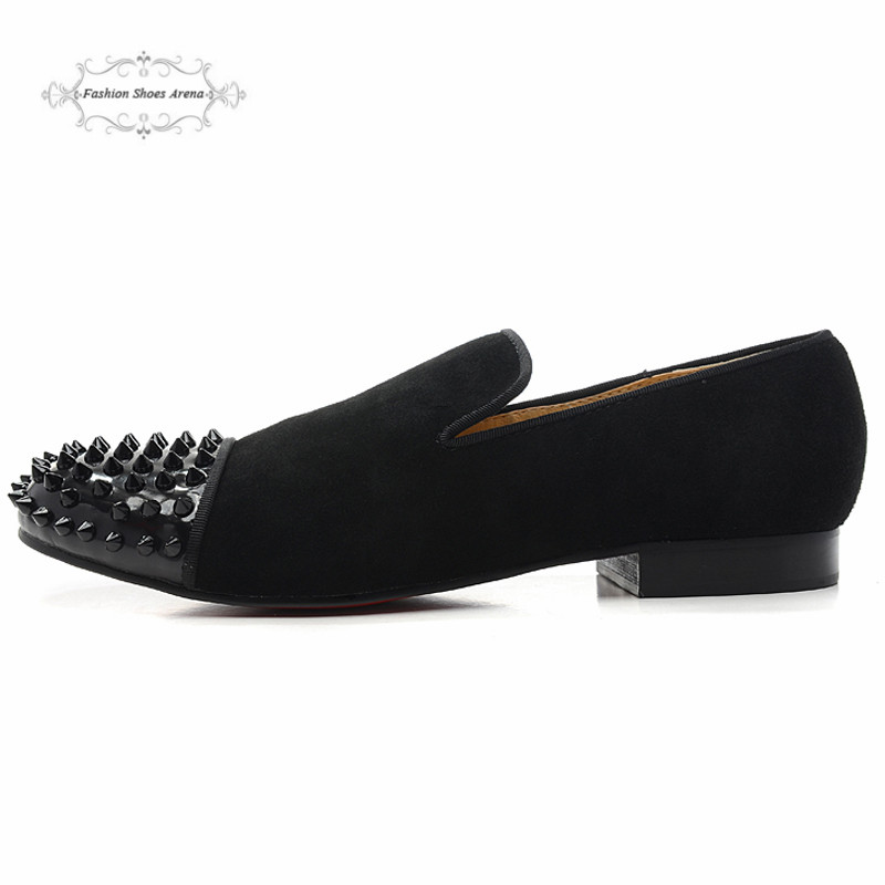 Size 36-46 Men & Women Black Suede With Spikes Toe Luxury Brand Red Bottom Loafers, Gentleman Fashion Design Slip On Dress Shoes
