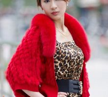 High Fashion 2016 Wholesale women knit rabbit fur jacket 100% reall fur with fox fur collar fashion outwear short jacket