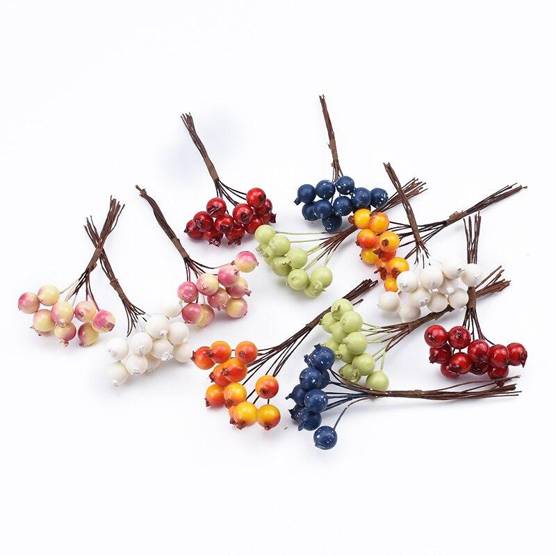 10pcs PE Cherry Fruit Artificial Plants DIY Gifts Box Christmas Decorations For Home Scrapbooking Decorative Flowers Wreaths