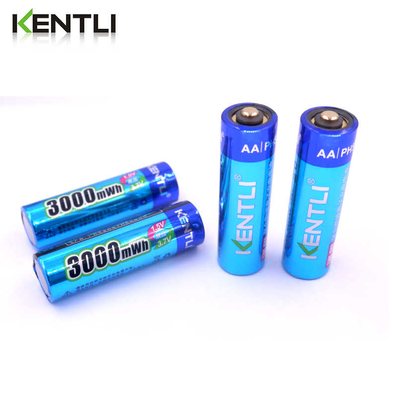 KENTLI 4pcs AA 1.5V 3000mWh lithium li-ion rechargeable battery + 4 Channel polymer li-ion battery batteries charger