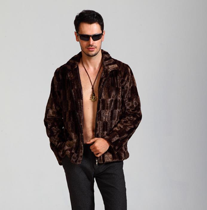Brown warm casual faux mink rabbit fur coat mens leather jacket men coats villus winter loose thermal medium-long outerwear