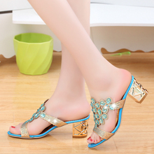 Lucyever Women Summer Fashion Rhinestone Slipper Sexy Hollow Out Chunky High Heels Sandals Crystal Party Shoes Woman Flip Flops