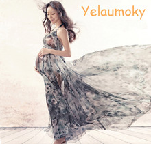 pregnancy print sleeveless dress maternity photography props summer dress pregnancy lady's maternity beach garments[Yelaumoky]