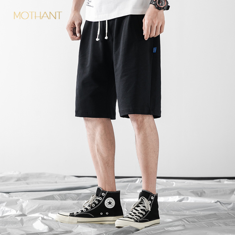 Tide Brand Men's Summer New Men's Solid Color Rope Loose Wild Beach Pants  Casual Five Pants Mens Casual