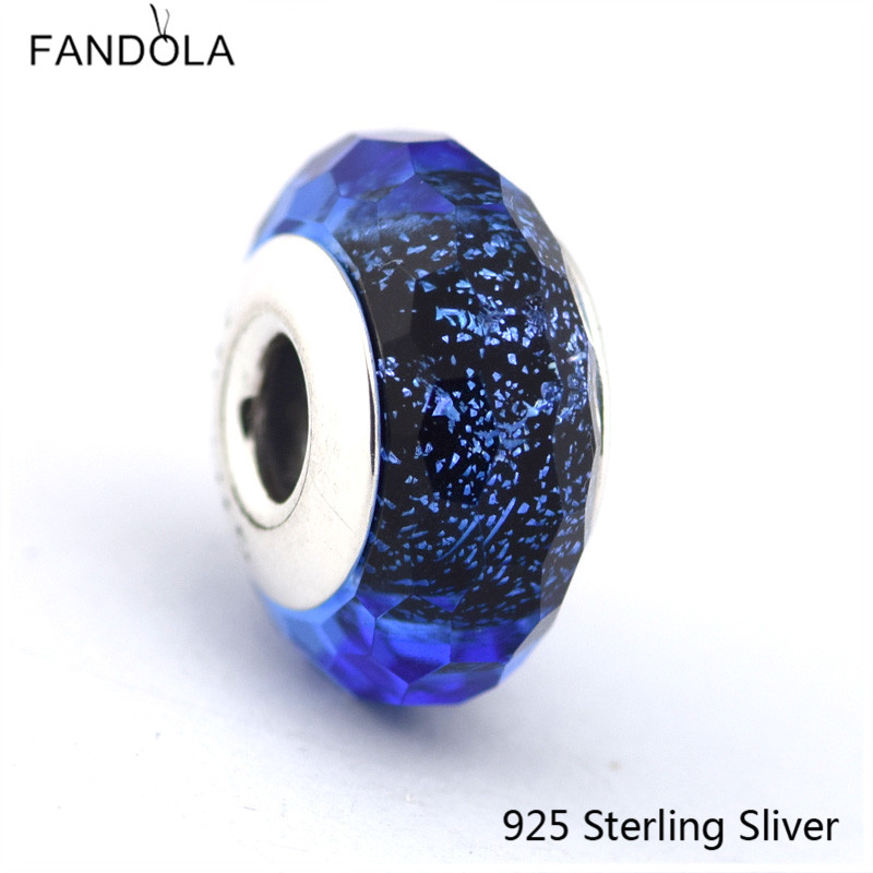 Blue Fascinating Iridescence Glass Murano with CZ 925 Sterling-Silver-Jewelry DIY Beads Silver Wonders Charms for Jewelry Making