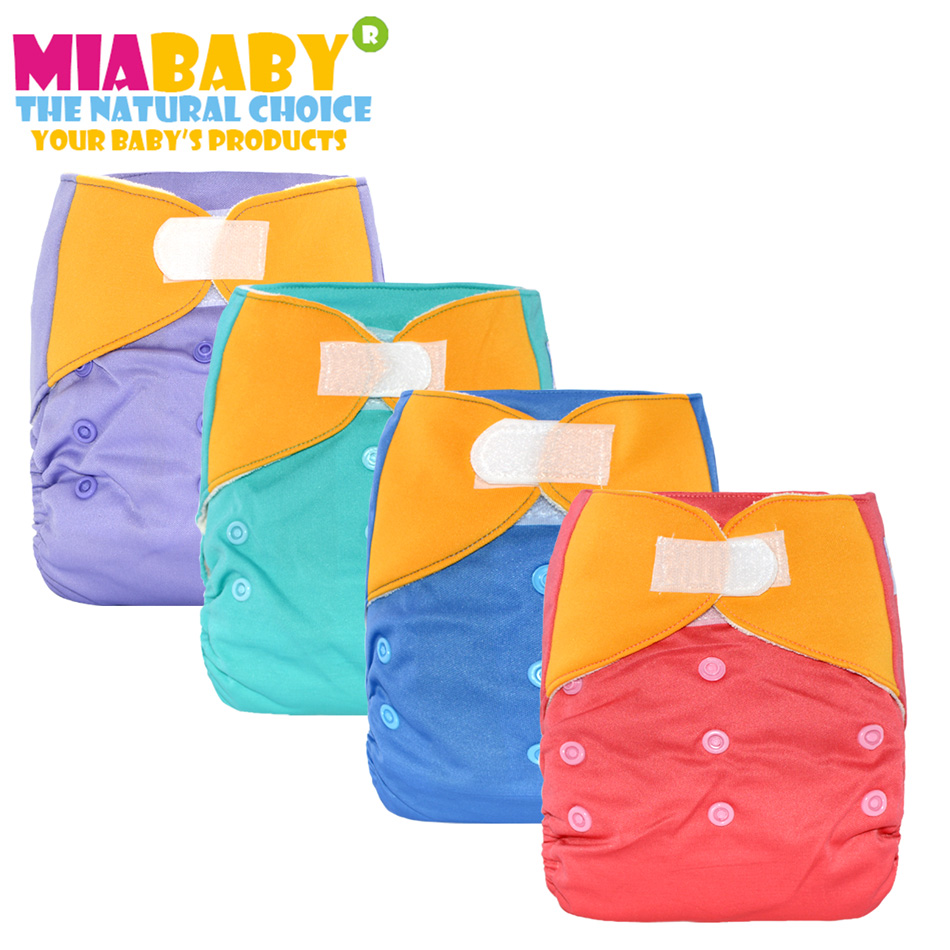 Miababy OS Bamboo Terry AIO Cloth Diaper for Baby with a sewn hemp insert for 5