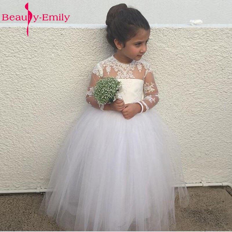 Adorable Long Sleeve Flower Girl Dress For Wedding With Puffy Ball Gown Tulle Skirt Scoop Neckline Long Sheer Girl Dresses