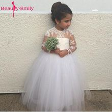Adorable Long Sleeve Flower Girl Dress For Wedding With Puffy Ball Gown Tulle Skirt Scoop Neckline Long Sheer Girl Dresses купить дешево онлайн