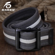 66c26efba00a Élégant lisse boucle toile ceintures Jeans accessoires mâle ceinture BAIEKU  marque haute qualité dames toile ceinture À La Mode .