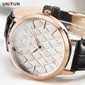 UNIFUN Novo Mulheres Relógio Analógico com Pulseira de Couro Vestido Moda Casual Vestido Estilo Simples Senhora Presentes Relógios de Quartzo Reloj Feminino