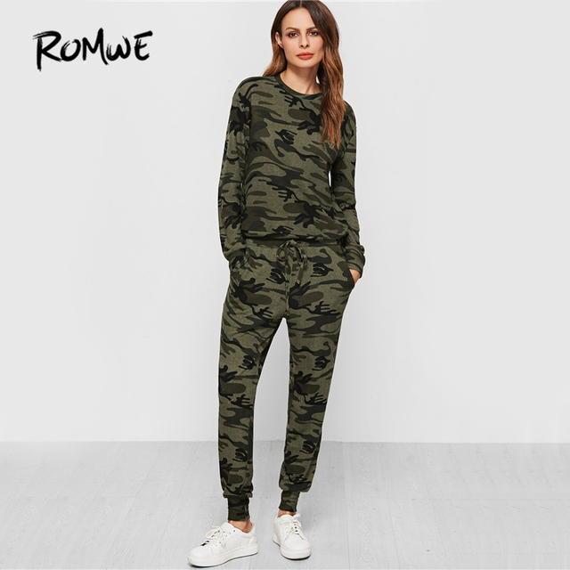 a0d738d7f8463 ROMWE Camo Print Sweatsuit 2 Piece Set 2019 Women Casual Long Sleeve Tops  With Drawstring Pants Green O Neck Brief Two Piece Set