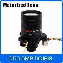 Lente Varifocal con Motor de 5 megapíxeles, D14 DC IRIS de 5 50mm, Visión de larga distancia con Zoom motorizado y enfoque para cámara 1080P/AHD 5MP/IP