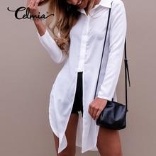 2017 Fashoin Women Sexy Long Blouse Lapel Long Sleeve Button Blusas Side Split Irregular Hem Plain Casual Shirt Tops Streetwear