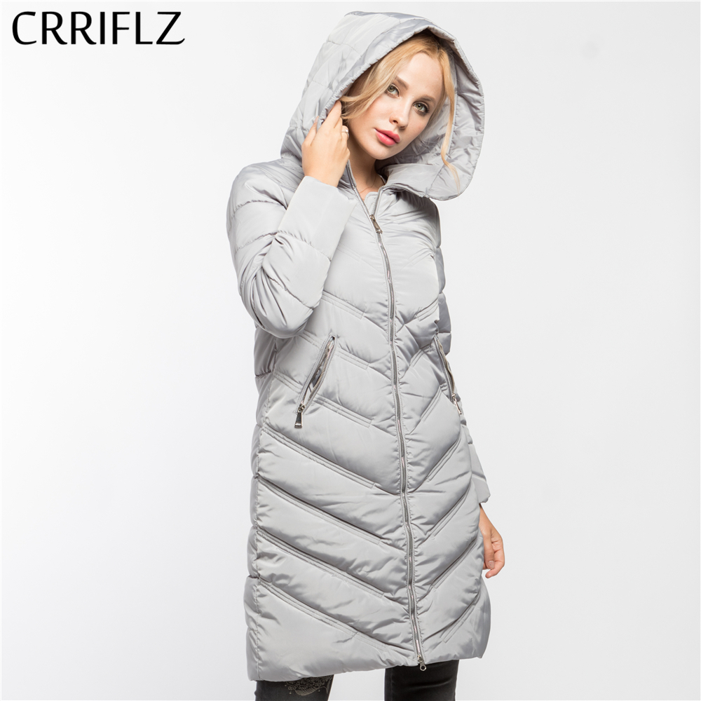 High Quality Thick Long Warm Winter Jacket Women Hooded Coat Down Parkas Female Outerwear CRRIFLZ 2017 New Winter Collection 2017 new winter fashion women down jacket hooded thick super warm medium long female coat long sleeve slim big yards parkas nz18