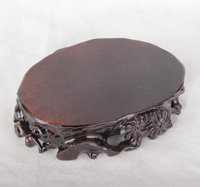 Carved mahogany Song Ling Yi base can Trench base set of five base wood crafts monolith monolith base