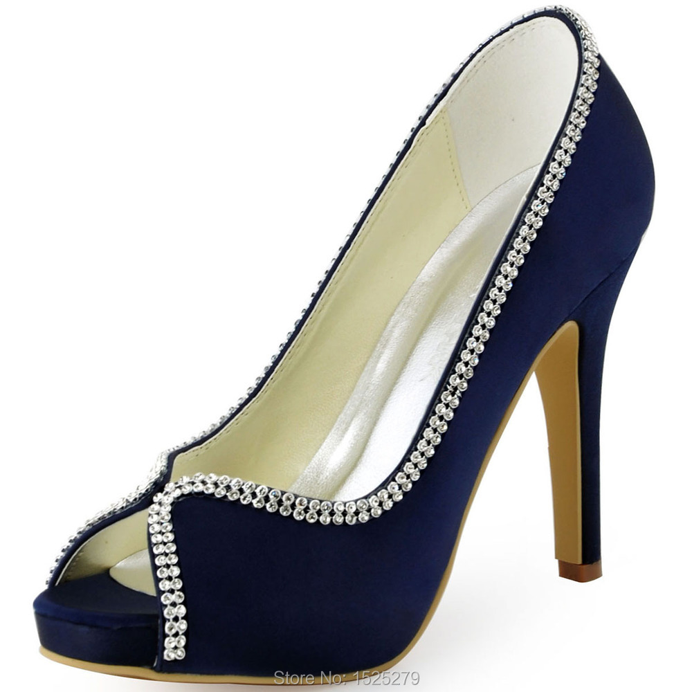 EP11083 IP Teal Navy Blue Women Bride Bridesmaid Evening Ceremony Party  Peep Toe Platform Pumps Rhinestones Wedding Bridal Shoes-in Women s Pumps  from Shoes ...