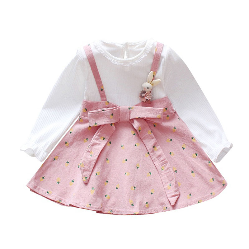 Baby Kids Girls Long Sleeve Fake 2 Piece Floral Tutu Dress Toddler Princess Sundress Outfits Clothes 6 Months -4 Years