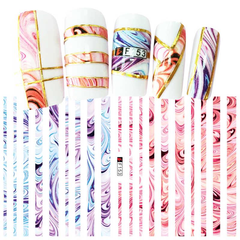 1 แผ่น 3D Self-adhesive สติกเกอร์เล็บสีสัน Art Stripes Designs สติ๊กเกอร์สติ๊กเกอร์สติกเกอร์สำหรับเล็บเคล็ดลับตกแต่งขายปลีกแพคเกจ