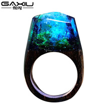 Wood Resin Ring For Women Male Handmade Wooden Secret Magic Forest Band Men's Jewelry Hip Hop Fashion Punk Wood Rings Men Anel