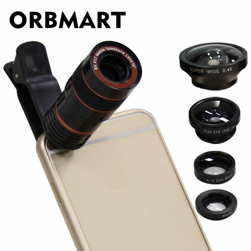 ORBMART 5 en 1 lentes 8X telescopio 0.4X Super ancho ojo de pez ancho Macro ángel para iPhone Samsung HTC Xiaomi cámara de teléfono móvil