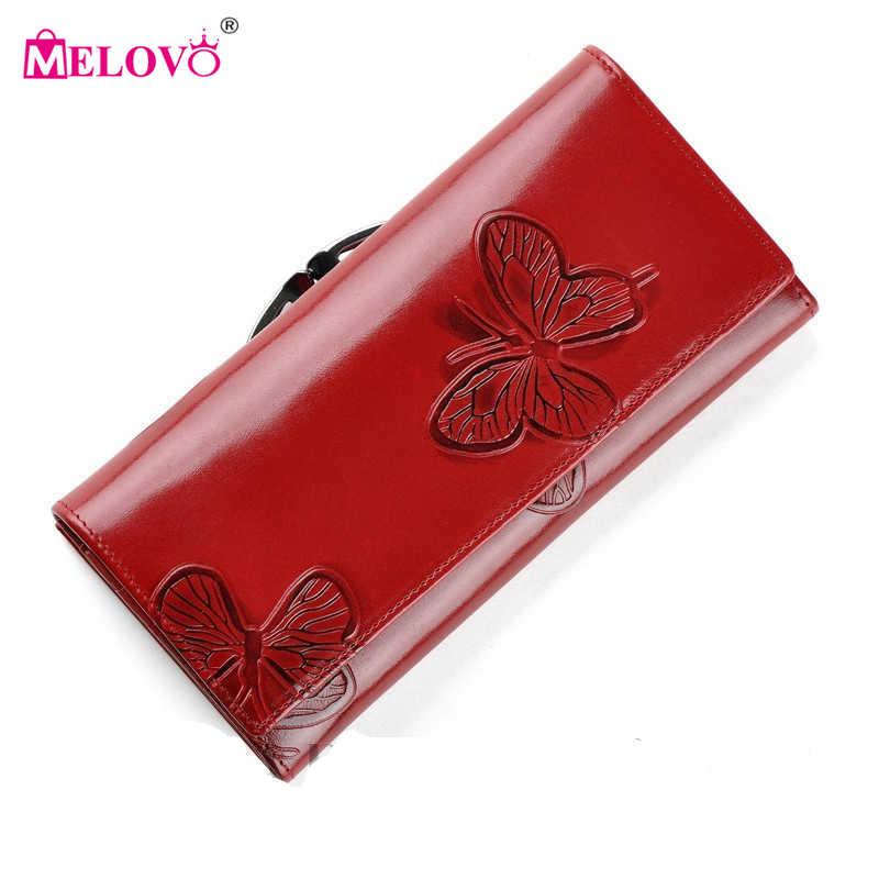 19abdcf6db92 Melovo роскошные дизайнерские модные красивые бабочки Для женщин Hasp  кошельки из натуральной кожи Клатчи Кошелек VC88