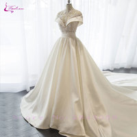 Waulizane New Arrival Lustrous Satin High Neck A Line Wedding Dress Floor Length Beading Sequined Applique