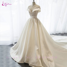 Waulizane Lustrous Satin A-Line Wedding Dress Floor-Length