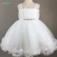 JaneyGao White Flower Girl Dresses Sleeveless Ball Gown Tulle Dress Cute With Elegant Crystal 2018 Spring