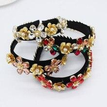 Vintage Barock stirnband mode temperament perle blatter blumen kreuz geometrie wilden dance party luxus zubehor