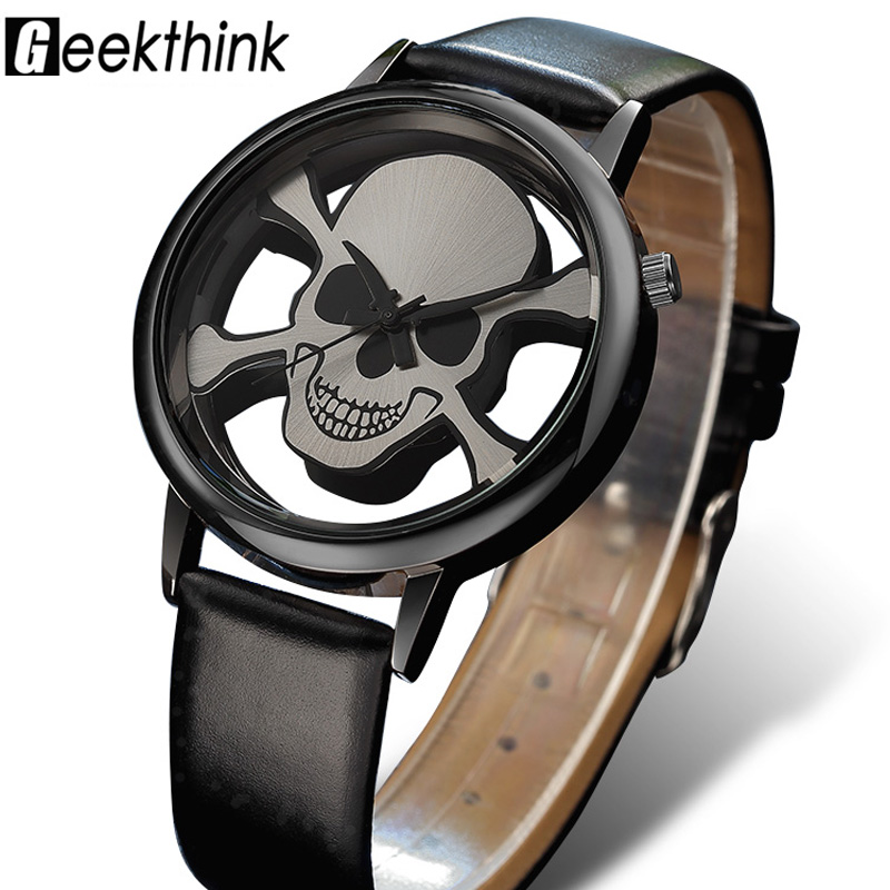 GEEKTHINK Hollow Skull Designer Watch Women Fashion Brand Quartz Ladies Casual Punk Leather Strap Clock Female Girls Trending