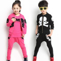 2014 NEW autumn 3pcs/set individual skull kids clothes sets fashion girls clothing sets children cotton clothing set