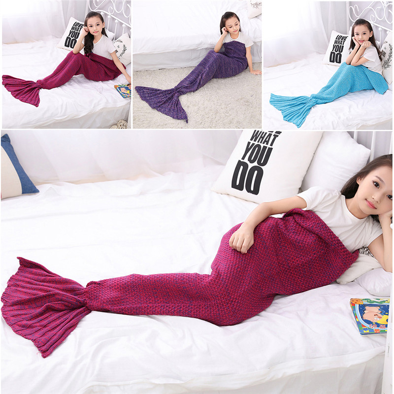 140*70CM Bed Blanket Sofa Mermaid Tail Blanket Wool Knitting Warm Sleeping Cover Child Kids Princess Birthday Christmas Gift