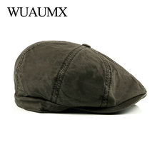Wuaumx Fashion Octagonal Hats Men Women Cotton Newsboy Caps Painter Hat Solid Color Detective Flat Wholesale chapeau