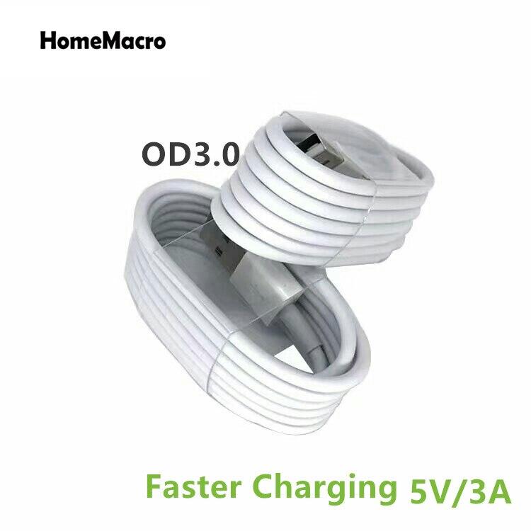 Одежда высшего качества 1 м/2 м/3 м TPE OD3.0 белый провод прочный 8 pin USB кабель синхронизации данных зарядка USB Зарядное устройство Шнур для iphone X 5 6...