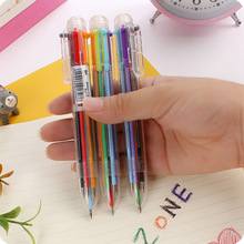 6 In 1 Multicolor Ballpoint Pen Multifunction Colors Press Ball Pens Marker 0.5mm for Writing School Supply Stationery