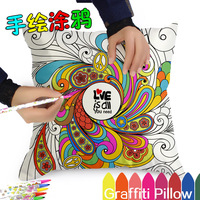 Graffiti Pillow Cases Cover Decorative Pillowcase DIY Draw By Yourself Bird Plant Garden Pattern
