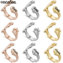 Vecalon 3 colors Baby Foot with Mom love ring Gold Filled Party Birthday band rings For women men festival Jewelry Gift(China)