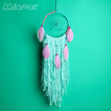 New Fashion Gift India Purple Feathers Dreamcatcher Wind Chimes Indian Style Feather Pendant Dream Catcher Regalo VD6224001