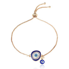 2019 Turkish Lucky Blue Crystal Evil Eye Bracelets For Women Handmade Gold Chains Lucky Jewelry bracelet&Bangles Female D1935 fine lavender purple natural crystal bracelets fox pendant evil spirits help marriage lucky for women girl gift bracelet jewelry
